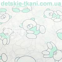 """Ткань хлопковая Bora """"Мишка в свитере"""", светло- мятного цвета ( № 982б)"""