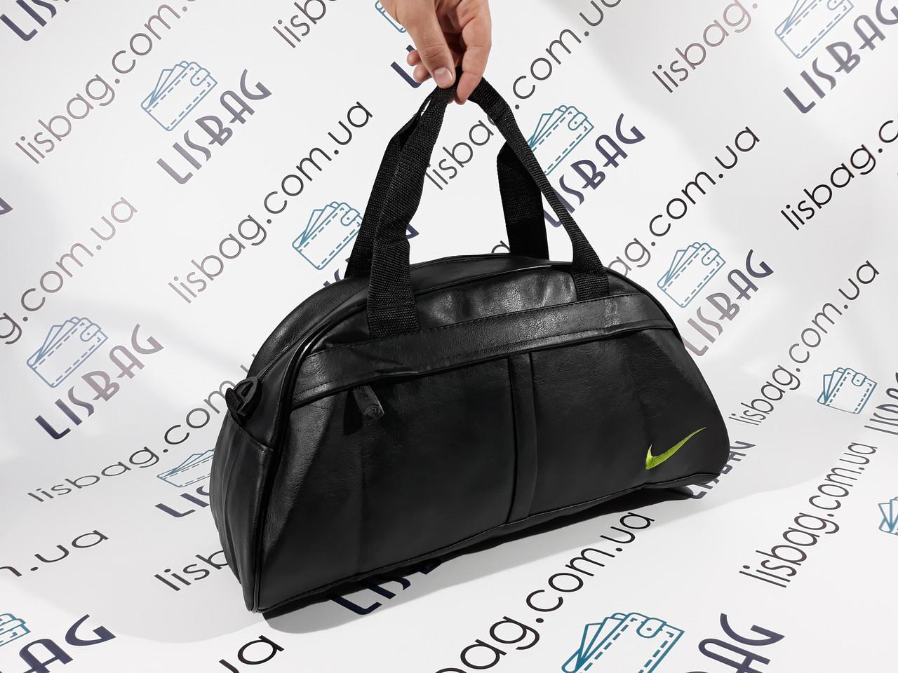Спортивная сумка черная Nike копия зеленый значек кож зам