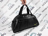 Спортивная сумка черная Nike зеленый значек кож зам
