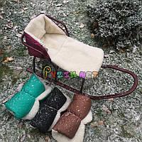 Теплая меховая вставка сидушка в санки, цвет на выбор
