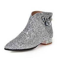 Для женщин Обувь Блестки Синтетика Осень Зима Модная обувь Ботильоны Ботинки На низком каблуке Заостренный носок Ботинки С Стразы Бант 06204131