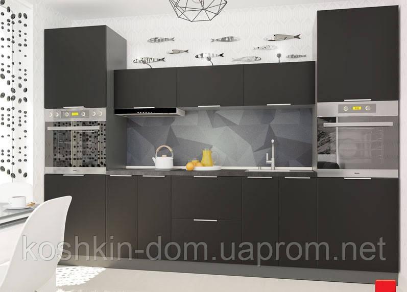Кухня модульная Flat черный 3000 мм MDF крашенный мат
