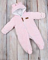 """Велюровый утепленный комбинезон  """"Teddy Bear"""" розовый меланж, размер 62 (0-3 мес)"""