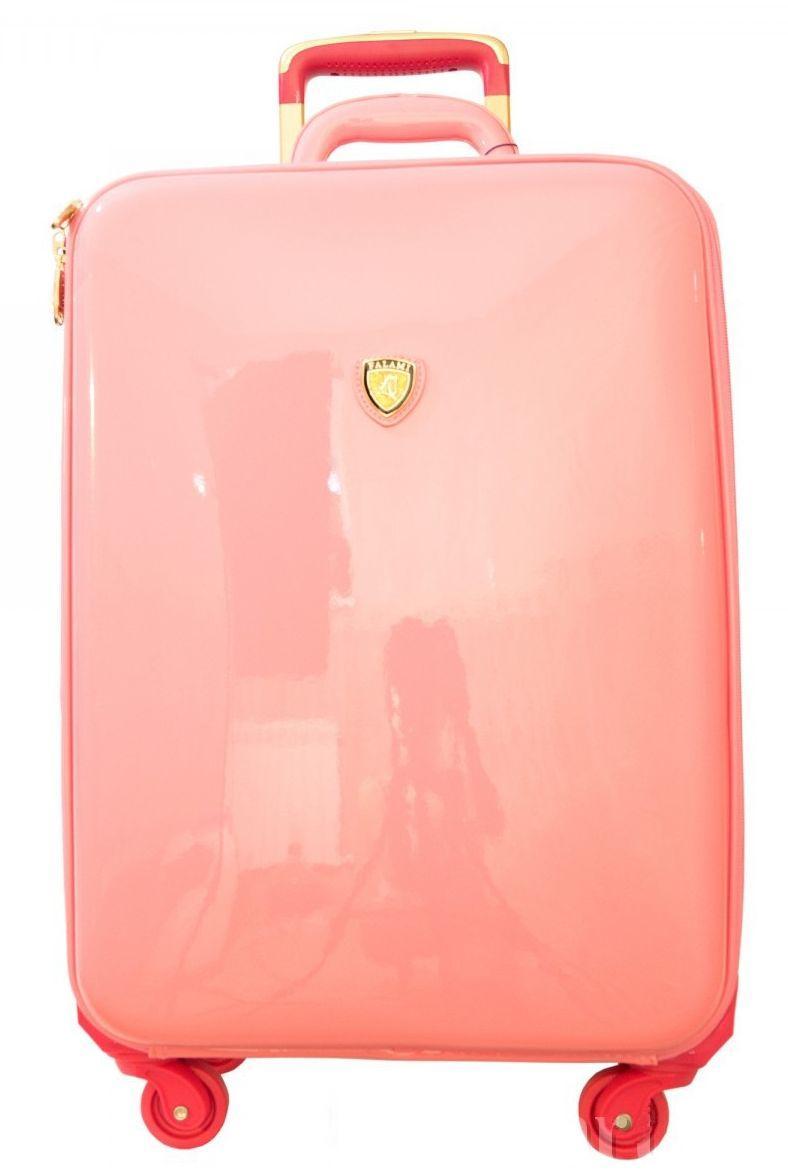 Стильный женский чемодан на 4-х колесах 54 л малый кожзам, лак Falami № 16-1, G16-1 розовый
