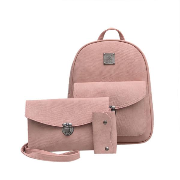 Матовый женский рюкзак розовый с сумкой-косметичкой и кошельком в комплекте