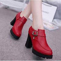 Для женщин Обувь на каблуках Удобная обувь Туфли лодочки Натуральная кожа Весна Лето Повседневные Черный Красный 7 - 9,5 см 06097157