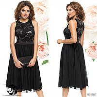 Женское вечернее платье черного цвета без рукава. Модель 16197. Размер 42