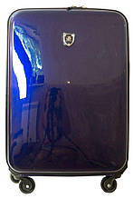 Практичный чемодан на 4-х колесах 54 л малый кожзам, лак Falami № 16-1, G16-1 синий