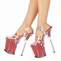 Для женщин Обувь на каблуках ПВХ Лето Осень На шпильке Белый Красный Красный/Белый Красный/Белый Более 12 см 05959881