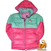 Детская куртка зима, болоньевая на синтепоне для девочек ростом 116-140 см (5 ед в уп)