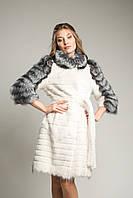 Шикарное белое пальто из нутрии и чернобурки 95 см