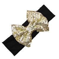 Детская широкая повязка на голову с большим золотым бантом для девочки от рождения до 5 лет