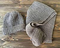 Комплект Шапка, вварежки и шарф серый ручной работы MoziOne