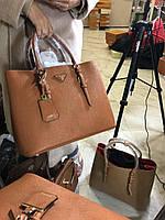 Модная женская сумкам PRADA cuir double bag коричневая
