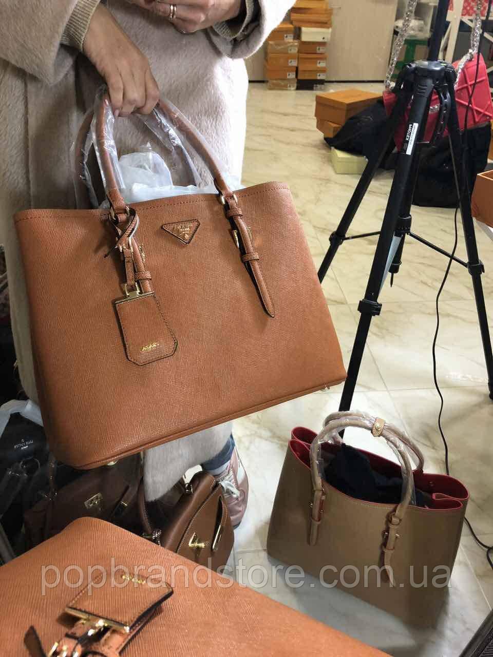53afd29e73ca Модная женская сумкам PRADA cuir double bag коричневая (реплика) - Pop  Brand Store