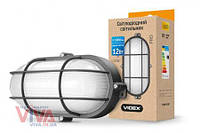 LED светильник для ЖКХ VIDEX 12W 5000K 220V черный усиленный овальный