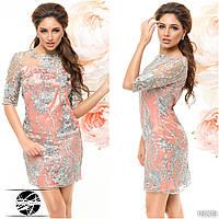 Женское вечернее платье розового цвета из атласной ткани. Модель 16229