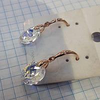 Серьги женские с родиевым покрытием и кристаллами Swarovski 115138