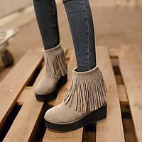 Черный / Красный / Бежевый - Женская обувь - Для праздника / На каждый день - Флис - На платформе - С круглым носком / Модная обувь - 04101103