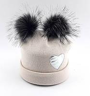 Теплая ангоровая шапка детская 52-58р