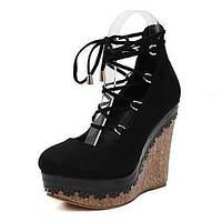 Для женщин Обувь Флис Весна клуб Обувь Обувь на каблуках На танкетке Круглый носок Шнуровка Назначение Для праздника Черный Красный 05599372
