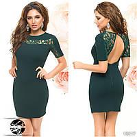 Вечернее мини платье с открытой спиной зеленого цвета. Модель 16217