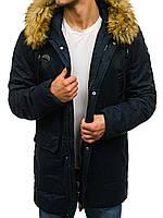Зимняя мужская куртка парка из хлопка на синтетическом пуху