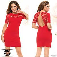 Вечернее мини платье с открытой спиной красного цвета. Модель 16227