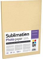 Фотобумага ColorWay, сублимационная, матовая, A3, 100 г/м2, 50 л (PSM100050A3)