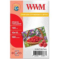 Фотобумага WWM, глянцевая, A6 (10х15), 180 г/м2, 100 л, Premium Series (G180.F100.Prem)