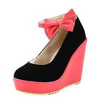 Для женщин Обувь Полиуретан Весна Осень Удобная обувь Оригинальная обувь Обувь на каблуках На танкетке Заостренный носок Бант Пряжки 06248457