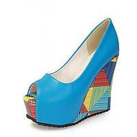 Для женщин Обувь Полиуретан Весна Осень Удобная обувь Оригинальная обувь Обувь на каблуках На танкетке Открытый мыс Назначение Свадьба 06248454
