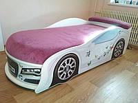 Кровать машина Audi  белый с цветочком, фото 1