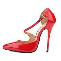 Для женщин Обувь на каблуках Туфли лодочки Полиуретан Лето Осень Для вечеринки / ужина Туфли лодочки На шпильке Черный Красный Более 12 см 05985149