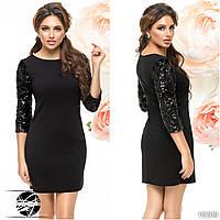 Женское вечернее платье черного цвета с пайетками на рукавах. Модель 16209. Размер 42