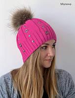 Зимняя женская шапка Кольца на флисе, нат. енот, размер 54-58 см
