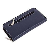 Женский кожаный кошелек на молнии LIKA (синий флотар)
