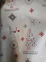 """Ткань декоративная хлопковая """"Новогодняя вышивка"""", фон кремовый"""