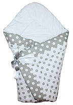 Теплый конверт Одеяло для девочек и мальчиков зима 90х90см Горох серый
