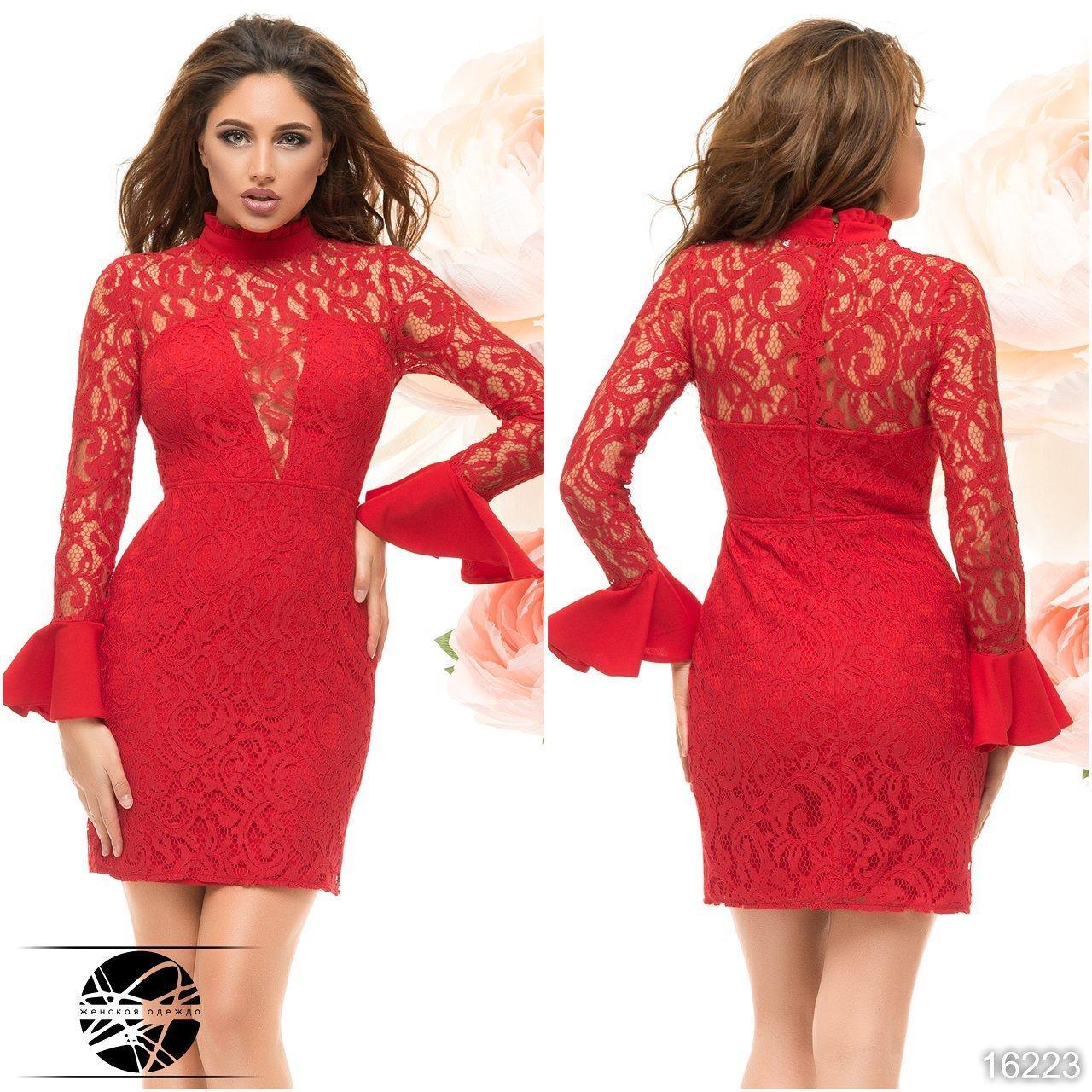 0f70de681bc Купить Вечернее платье красного цвета с рукавами из гипюра. Модель ...