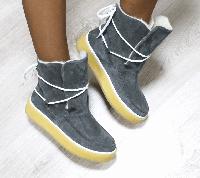 Полусапоги УГГИ женские на шнуровке замшевые никель