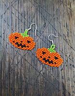 Серьги Тыквы на Хеллоуин из бисера ручной работы