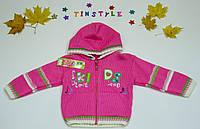 Красивая вязаная кофта с капюшоном для девочки на 1-3 годика