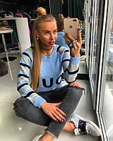 Теплый женский свитер из шерсти с хлопком (рукава в полоску) 18KF136