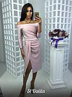 Платье с люрексом с открытыми плечами и разрезом 16PL356, фото 1