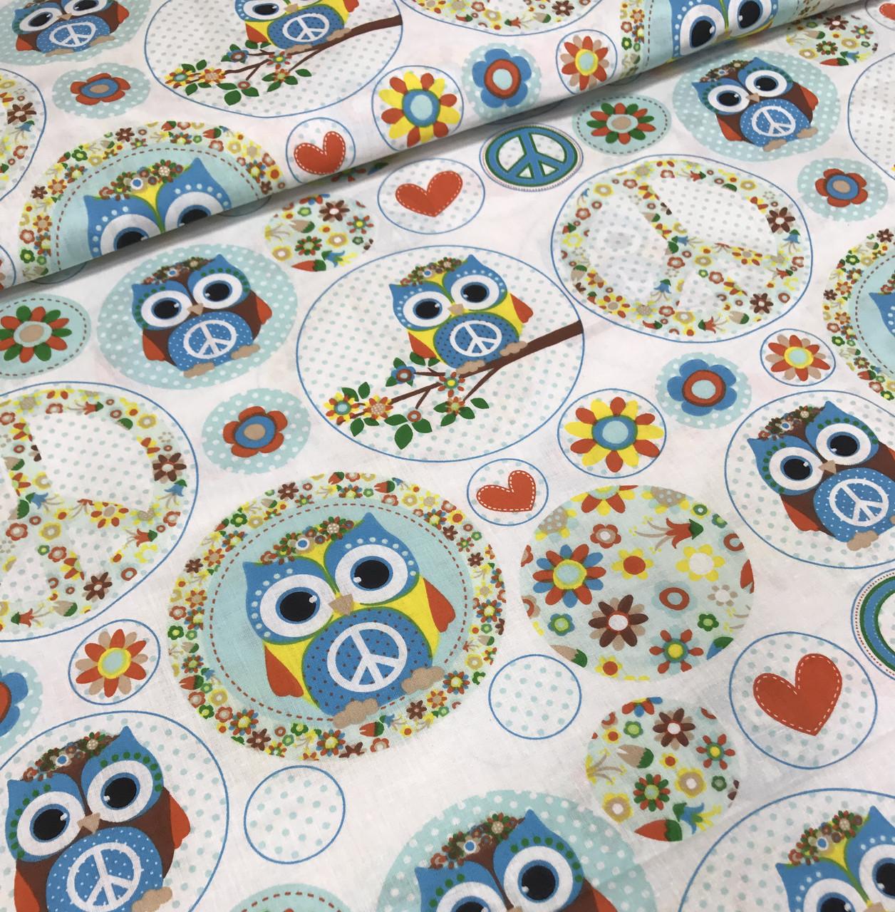 Хлопковая ткань польская совы в голубых кружочках №389