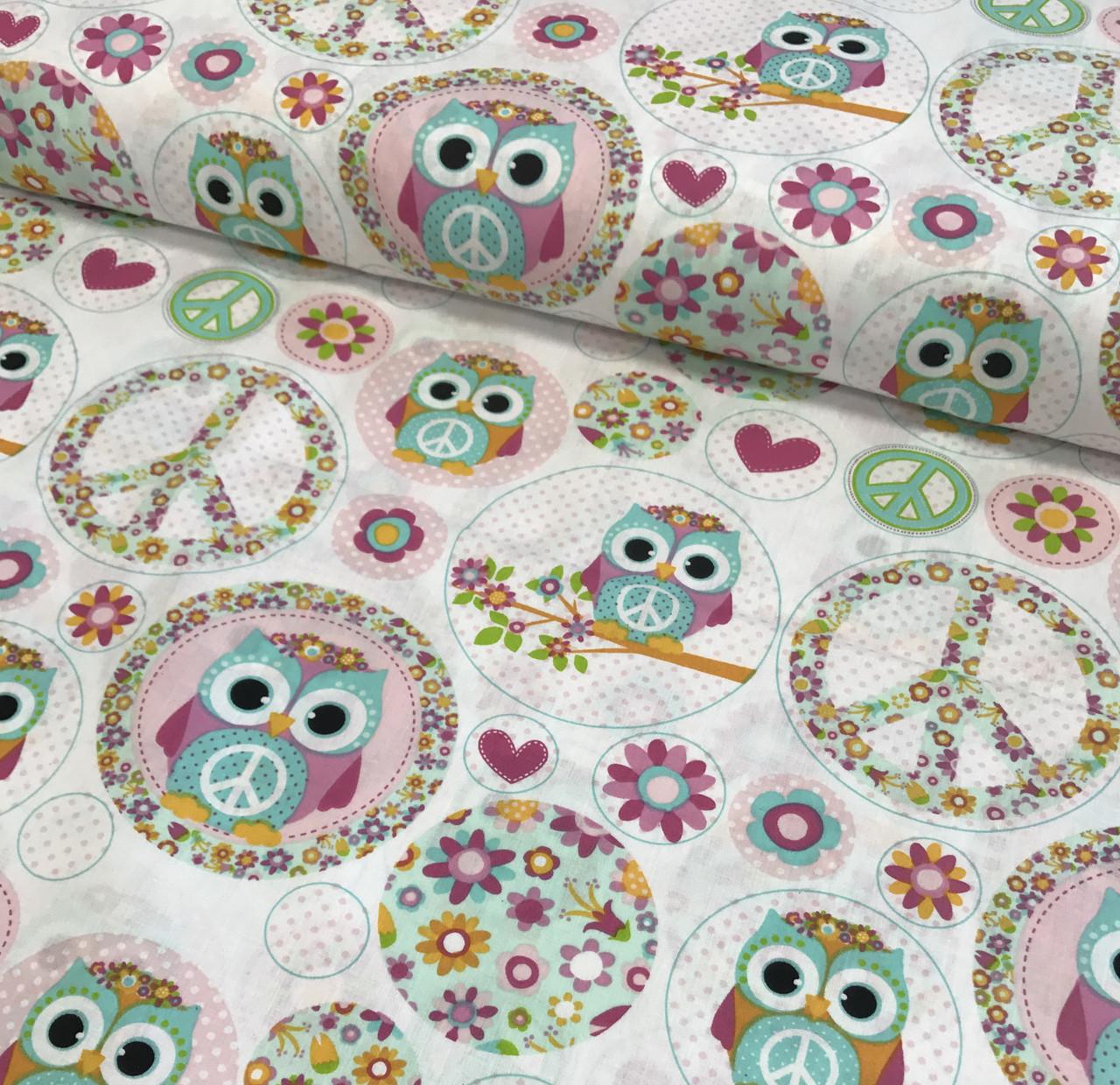 Хлопковая ткань польская совы в розовых кружочках №438