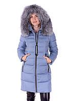 Модный женский пуховик с натуральным мехом чернобурки цвета джинс Peercat 17-598 Джинс