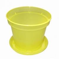 Горшок с поддоном (Фасовка: 1 шт.; Цвет: желтый)
