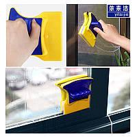 Магнитная щетка для мытья окон Double Faced, щетка для мытья стекол, Губка с магнитом